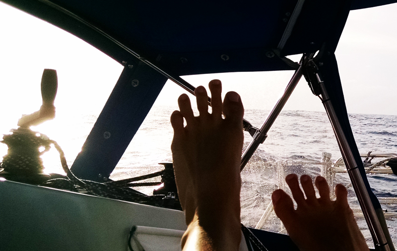 feet and winch handle and sun