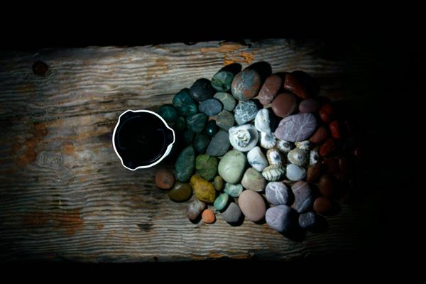 illuminated ocean stones